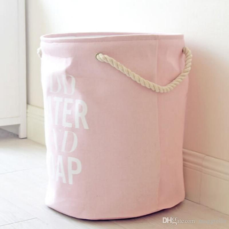 Portable Folding Laundry Basket Large Capacity Kids Toy Storage Basket Cotton&Linen Washing Hamper 40x50cm