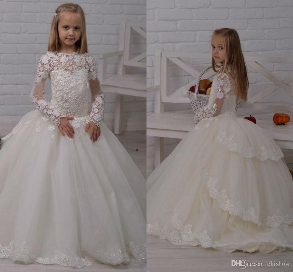 2017 white lace appliques ball gown flower girl dresses tired kids 2017 white lace appliques ball gown flower girl dresses tired kids wedding guest dress long sleeves court train pageant dresses silk flower girl dresses ombrellifo Gallery
