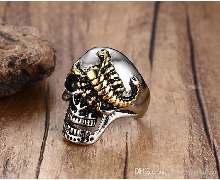 Skull Rings for Men Stainless Steel Rings Brand Jewelry New Arrival Punk Gold Scorpion Mens Rings