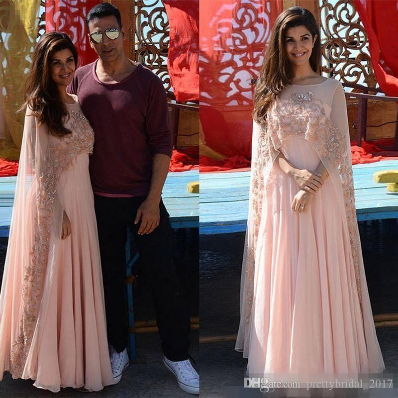 Arabic Kaftan 2018 Pink Applique Women Evening Dresses With Sheer ...