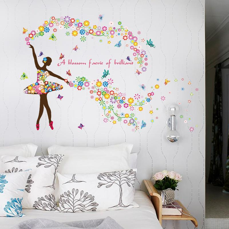 60*90cm Girl Dancing Home Stickers Pvc Romantic Flower Fairy Living Room  Sofa Tv Background Wall Romantic Decoration Wall Stickers Wholesale  Decorating With ... Part 62