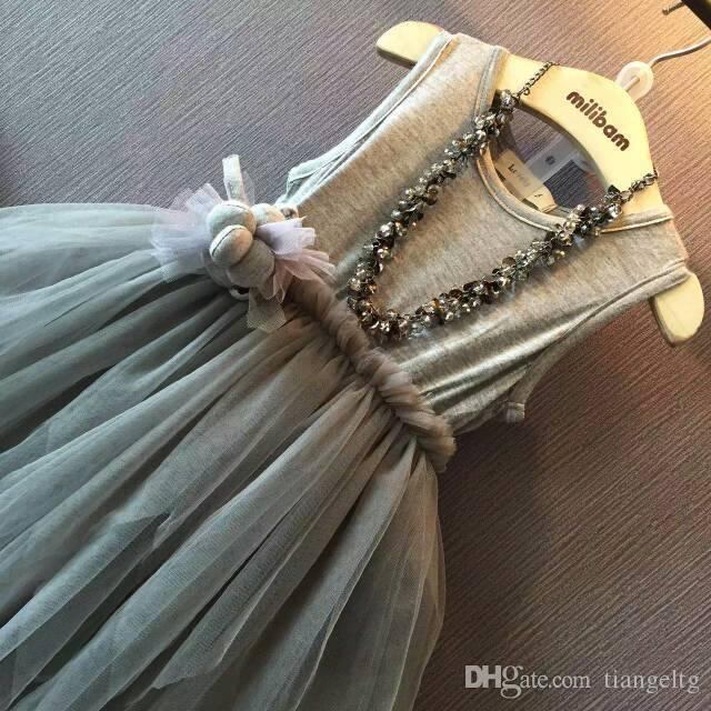 Девушки нерегулярные пачка платья партии хлопка без рукавов жилет 3D мяч сетки Флора створки креп пачка мода Принцесса одежда