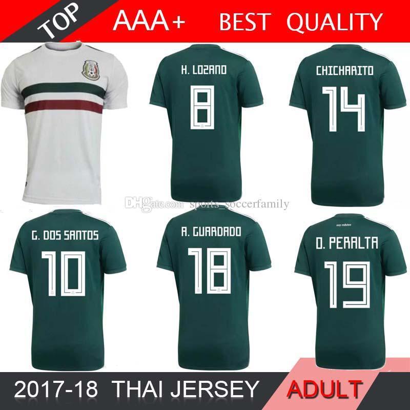 a7cc5a1137b 2019 2017 2018 Mexico Thailand Camisetas Soccer Jersey Home Away 17 18 Green  CHICHARITO Camisetas De Futbol Hernandez G DOS SANTOS WHITE From ...