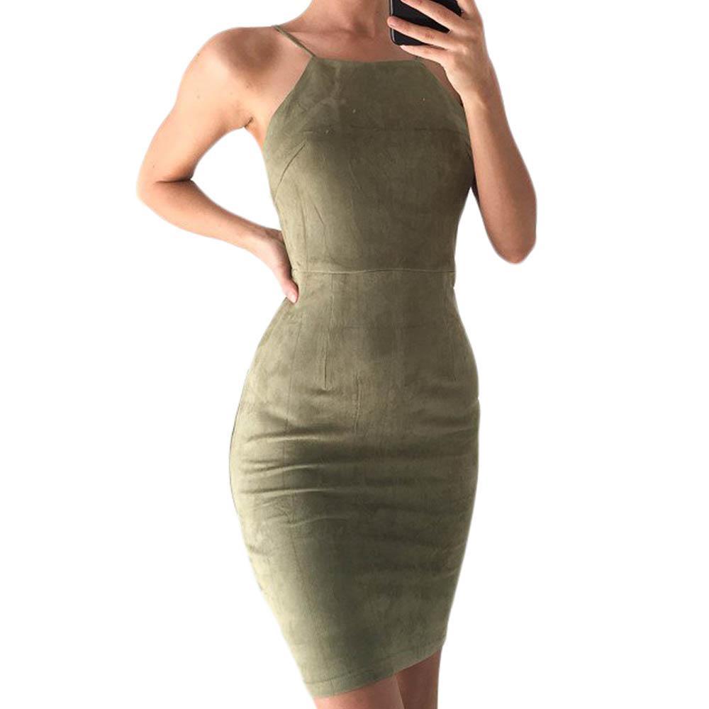 Suede Halter Mini Dress
