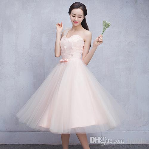 Robe De Mariage Short Sweetheart One Shoulder Pink Tulle Bridesmaid Bridal New Bridesmaids Party Dress Debut Ball Gown H3646 Mermaid Dresses Navy