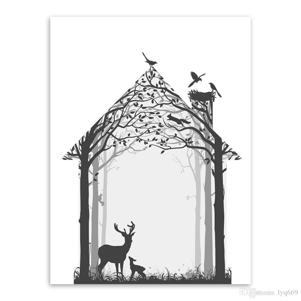 hot modern nordic vintage black white deer head animals silhouette wall painting by numbers prints art poster home decoration from lyq669