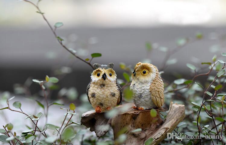 4 style micro mini fairy garden miniatures figurines Owl birds animal Action Figure Toys ornament 2017 Home
