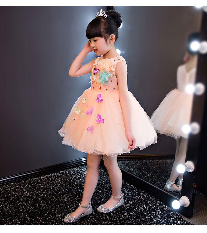 Flower Girls Ball Gown Arancione Abito da sposa Abito da sposa Appliques Party Tulle Principessa Abito di compleanno Prima Comunione Abito 1-12Y