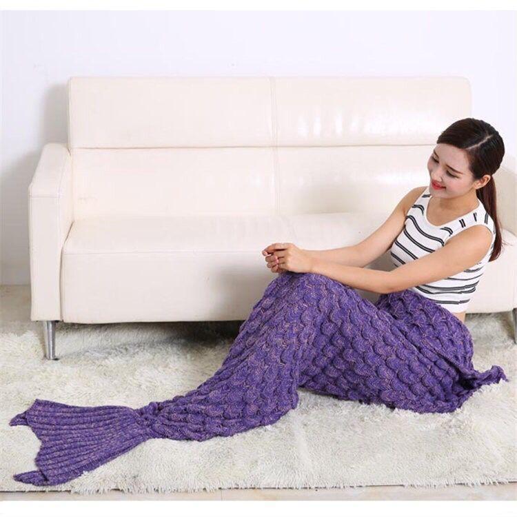 Compre Escamas De Pescado Sirene Tail Manta De Ganchillo Manta De ...