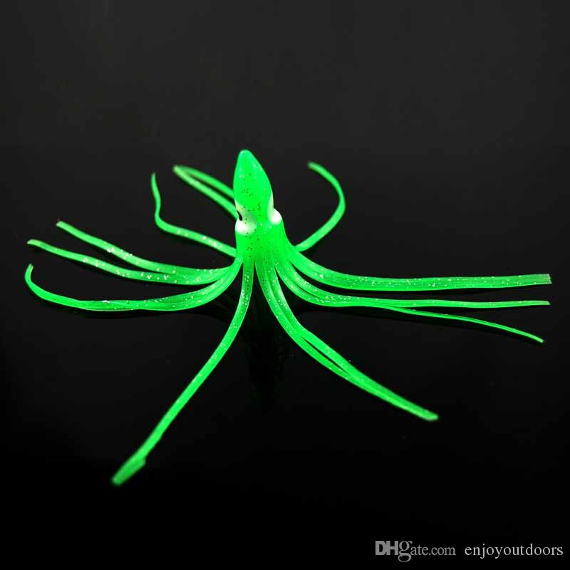 11cm Soft Plastic Octopus Fishing Lures For Jigs Mixed Color Luminous Silicone Octopus Skirt Artificial Jigging Bait