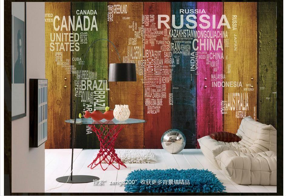 3d foto papel de parede personalizado 3d murais de parede papel de parede mural carta mundo mapa cor painel de madeira tv wall fundo papel de parede sala de estar decoração