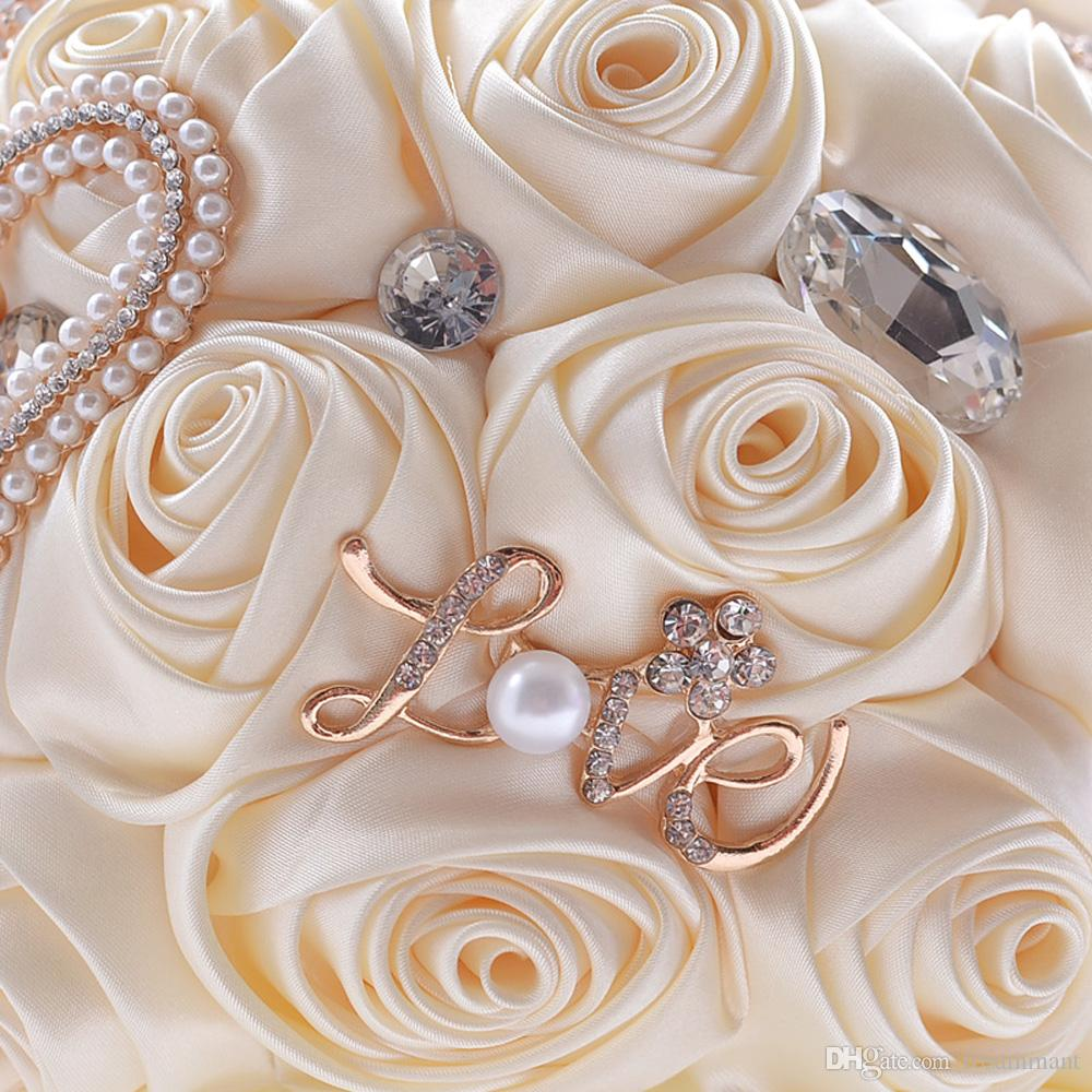 2019 New Style In Stock Stunning Wedding Flowers Pearls Brooch Bridesmaid Bridal Bouquets Artificial Rose Wedding Bouquet