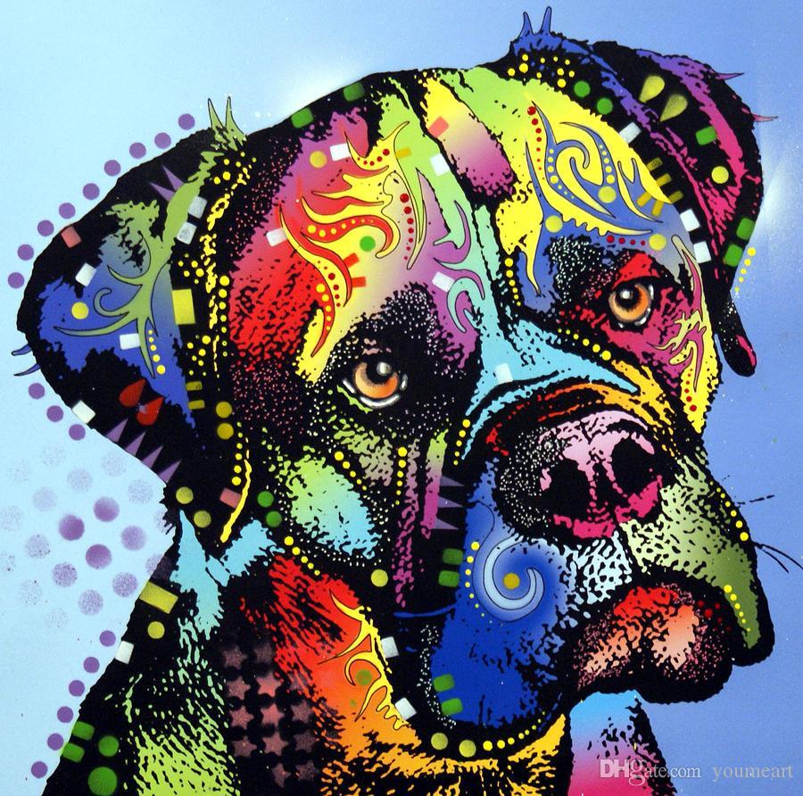 YOUME ART Giclee Animal la voglia di unire mastino-guerriero pittura ad olio arti e tela decorazione della parete di arte pittura a olio su tela 60x76 cm