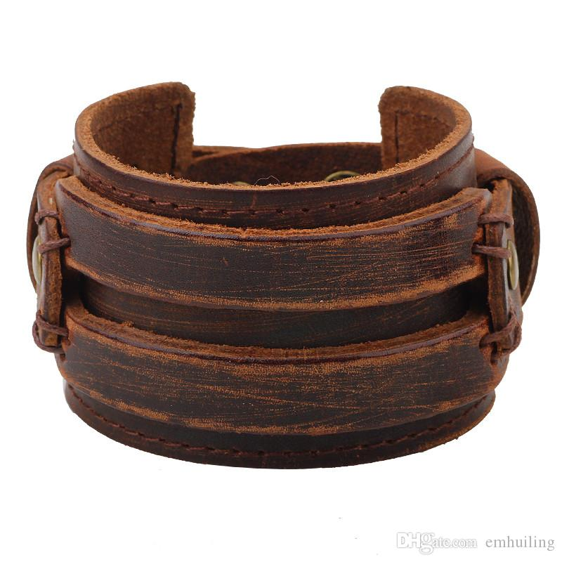 Genuine Leather Cuff Bracelet for Men Chunky Super Wide Belt Cover Wrist Tattoo Snap Closure Stitched Double Band Black Brown Punk Unisex