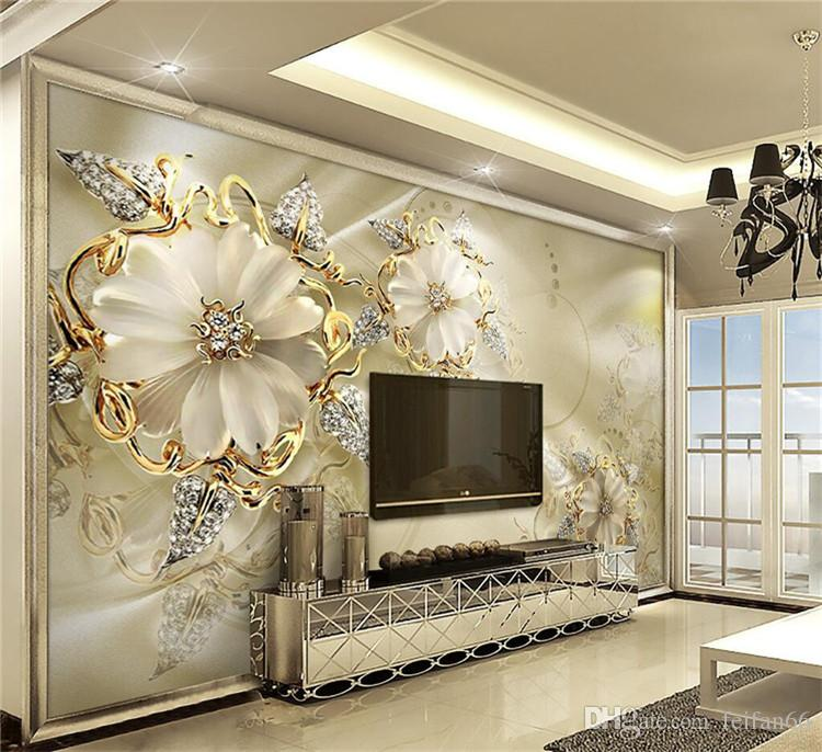 Wall Panel Wallpaper Marble Diamond Jewelry Rose Background Modern Europe Art Mural for Living Room Large Painting Home Decor