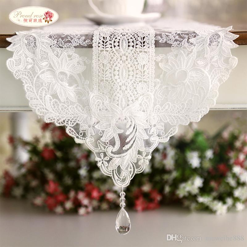 Charmant Korean White Lace Table Runner/ Crystal Pendant Tea Table Cloth/ European  Contracted Lace Table Runner Extra Long Table Runner Extra Long Table  Runners From ...