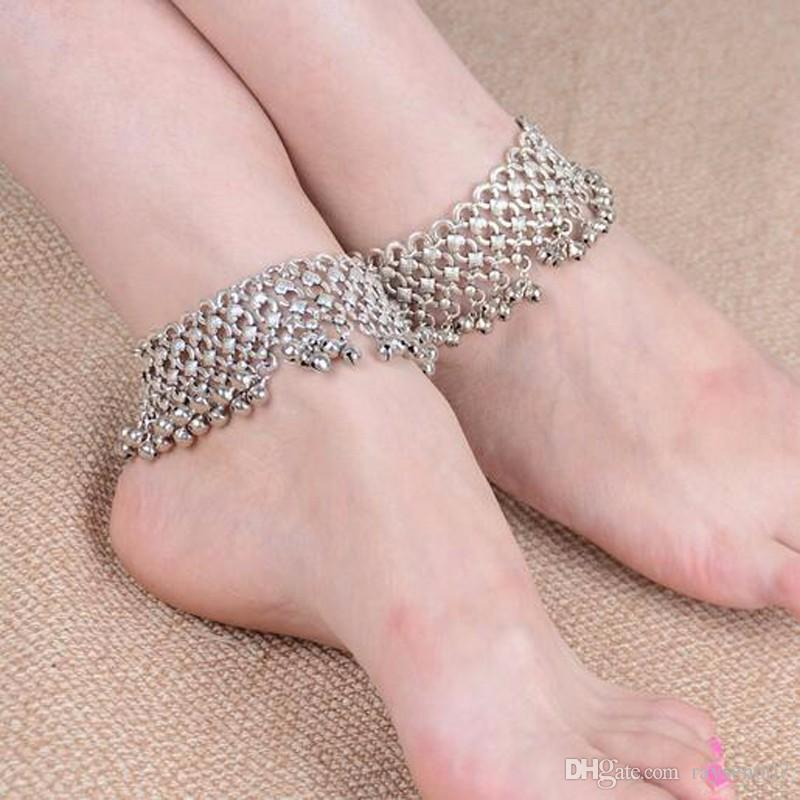 New Fashion Sexy Vintage Silver Anklet Chain Bell Beads Ankle Bracelet Foot Jewelry For Women Barefoot Sandal
