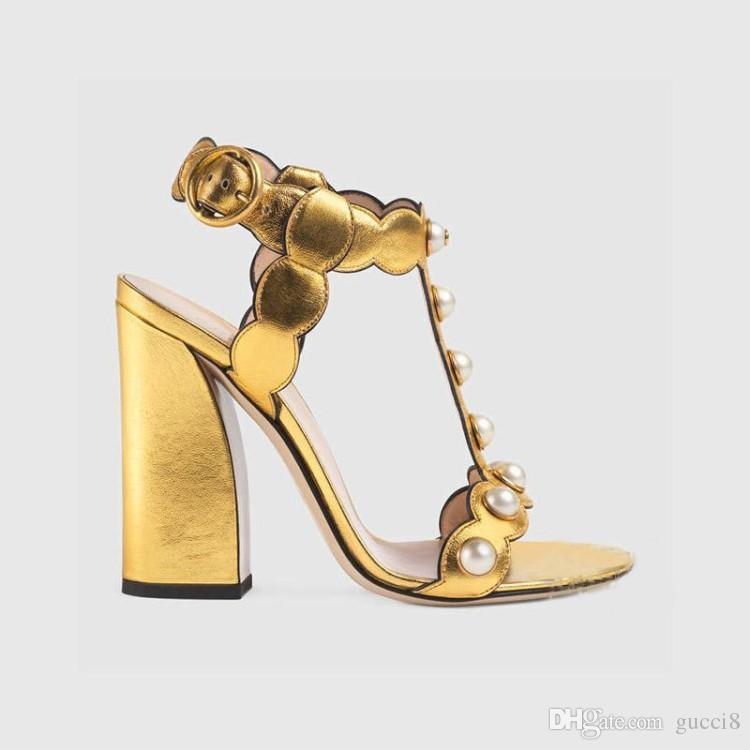 골드 블랙 진주 GG 샌들 Feminino Chunky Heels 정품 가죽 핏 토우 레이디스 글래디 에이터 T 파티 용 펌프보기 여름용 여성용 신발