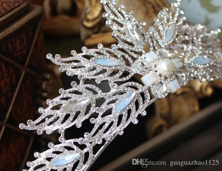 O novo 2017 coroa brincos servir a noiva casamento jóias cristal princesa Europa e os Estados Unidos diamante banda de cabeça