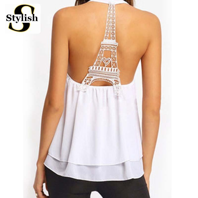 8db44951ab371 2018 Wholesale Tank Tops Sexy Sleeveless Eiffel Tower Backless 2016 Summer  Halter Neck Chiffon Camis New Fashion European Ladies Vest Clothing From  Douban