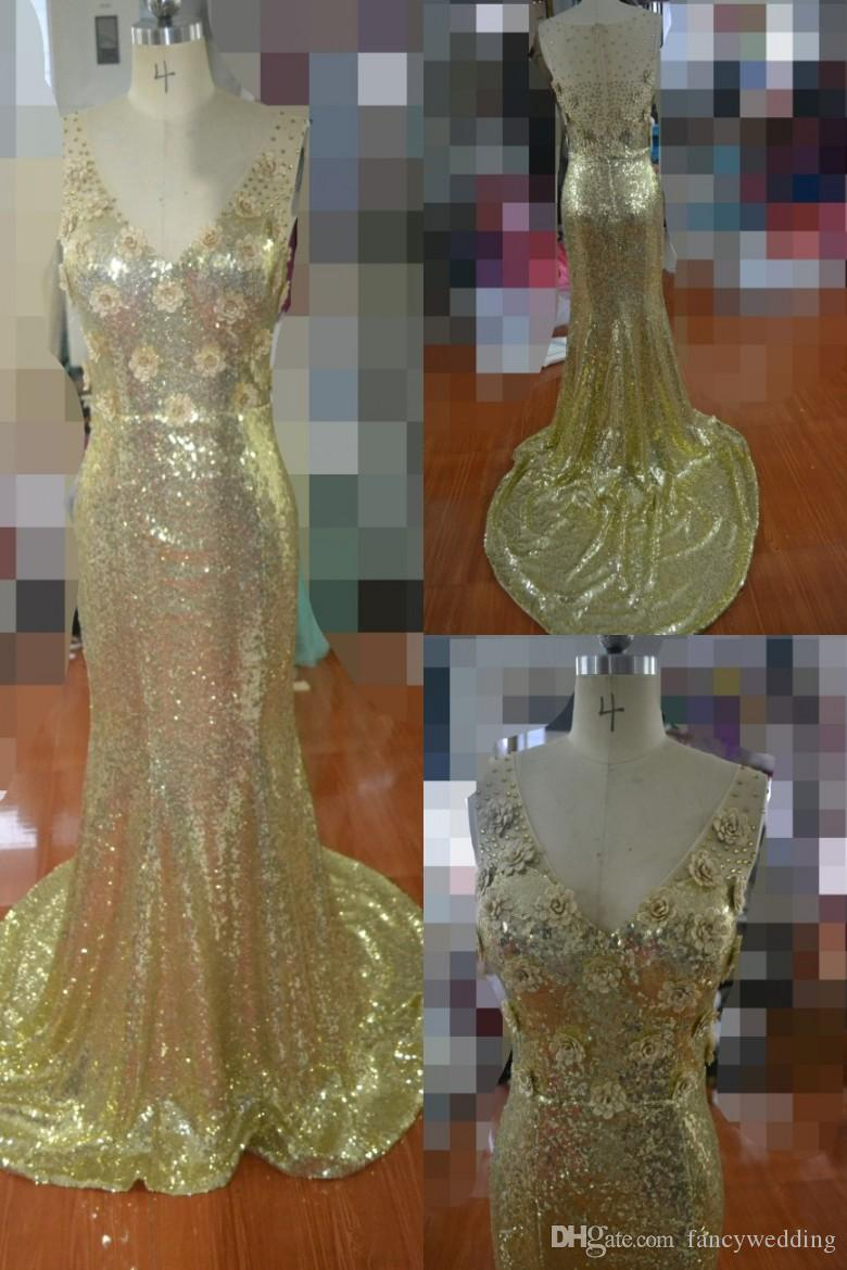 Gold Beaded Hand Made Flower Mermaid V Neck Squined Illusion Zipper ...