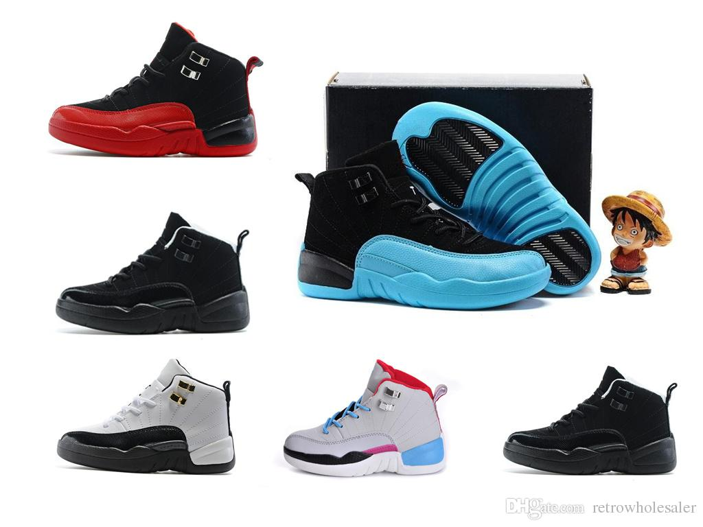 Gamma Blue Retro Xii 12s Children Outdoor Sports Athletic Flu Game Upspring Baby Walking Wings The Master Youth Boy Girl Kids Basketball Shoes Sneaker Online With