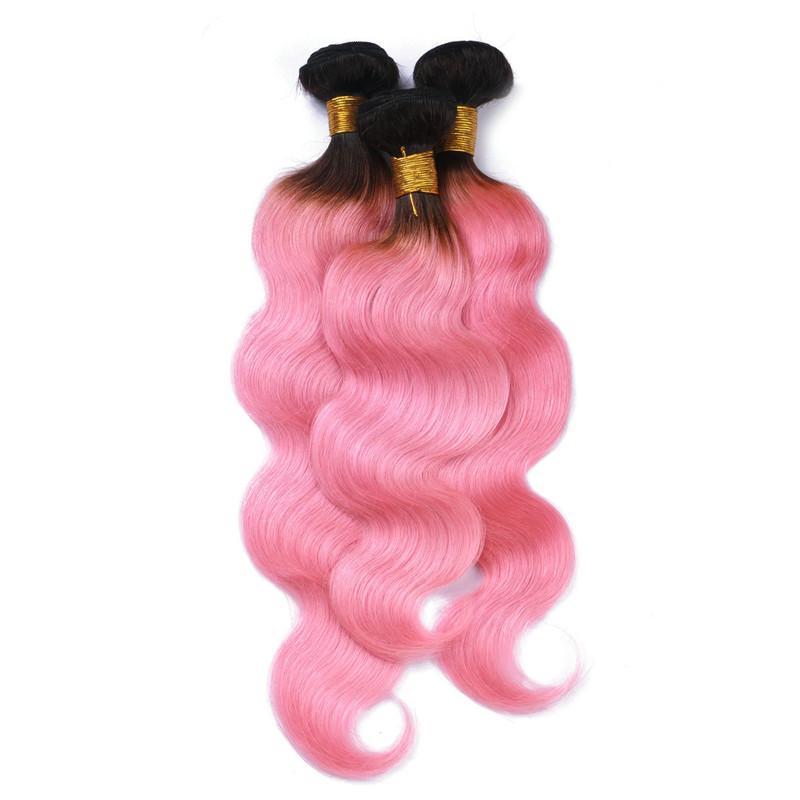 버진 브라질 핑크 옹 브르 인간의 머리는 바디 웨이브 다크 루트 1B / 핑크 2Tone 옴 브레 레미 인간의 헤어 번들 바디 물결 무늬