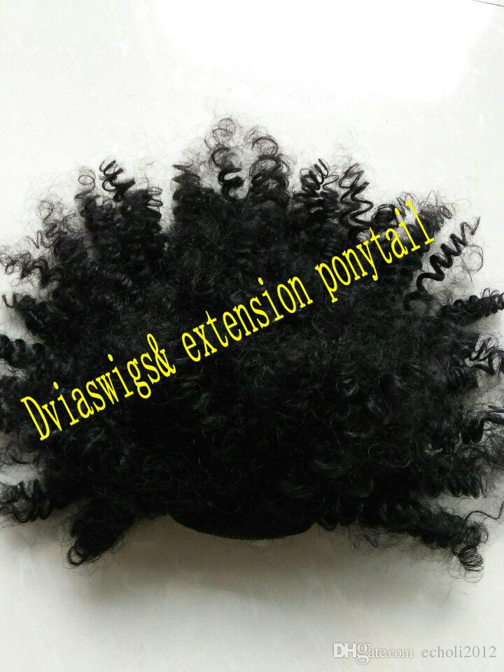 """Top Quality 12"""" 120g Ponytail Thick Human Short Afro Curly Wrap Clip in Remy Hair Ponytail Natural Hair Extension Fake Tress Hairpieces"""