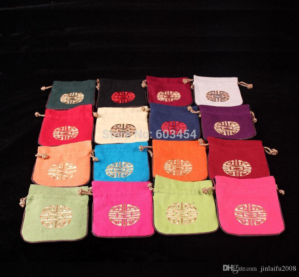 Vente en gros pas cher New Mix Style Chinois richesse Fortune Lin Jewel sacs-cadeaux de bonbons
