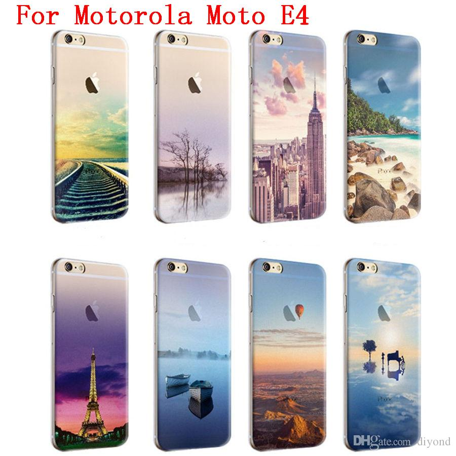 motorola e4 phone case. cool scenery series phone case for motorola moto e4 e 4th gen. high quality painted tpu soft silicone skin back cover top rated cell phones