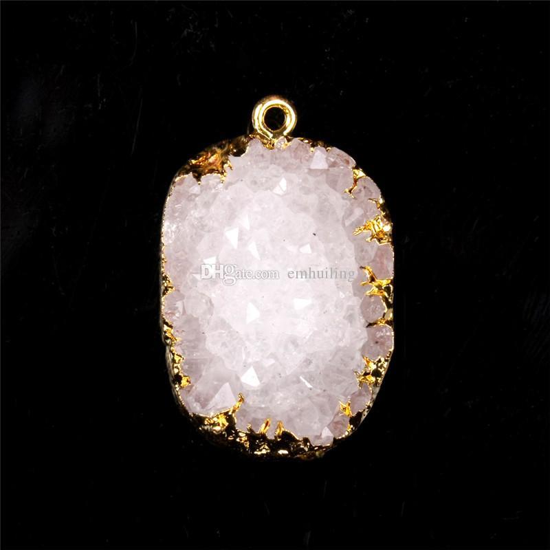 프리미엄 골드 베젤 20-40mm 드롭 모양 화이트 자연 드루 지 클러스터 보석 옥스 펜던트 Freefrom 개인화 된 석영 Geode Boho Stone One Hook