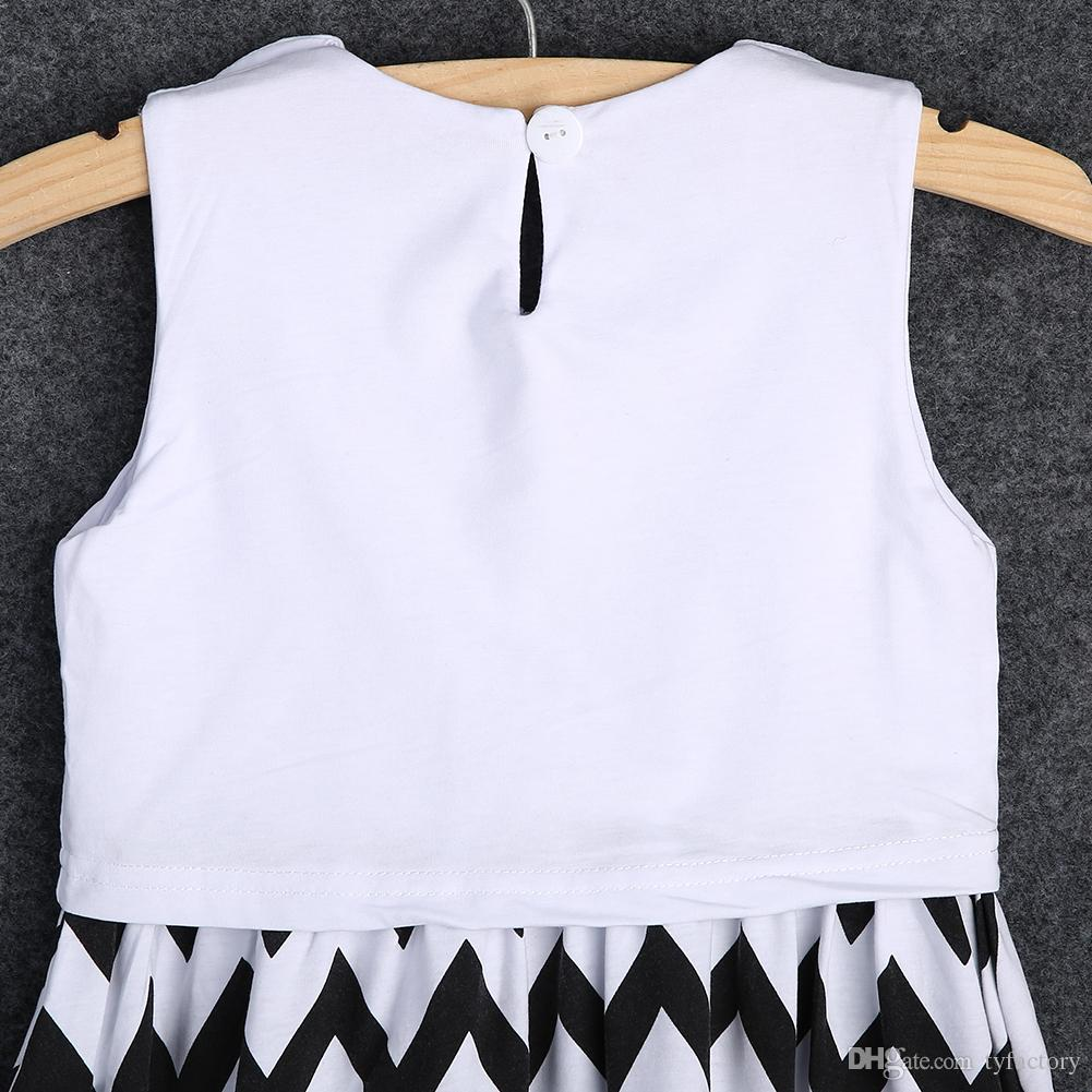 Newborn Kids Girl Clothing Baby Girls Princess Chervon Sleeveless Summer Party Black And White Striped Dress Sundress 2-7Y