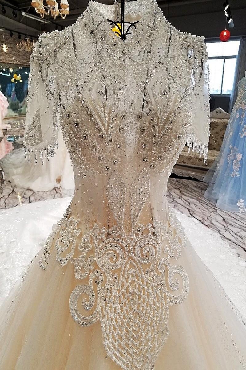 LS00221 High neck short sleeve backless lace up elegant vintage style ball gown victorian wedding dresses