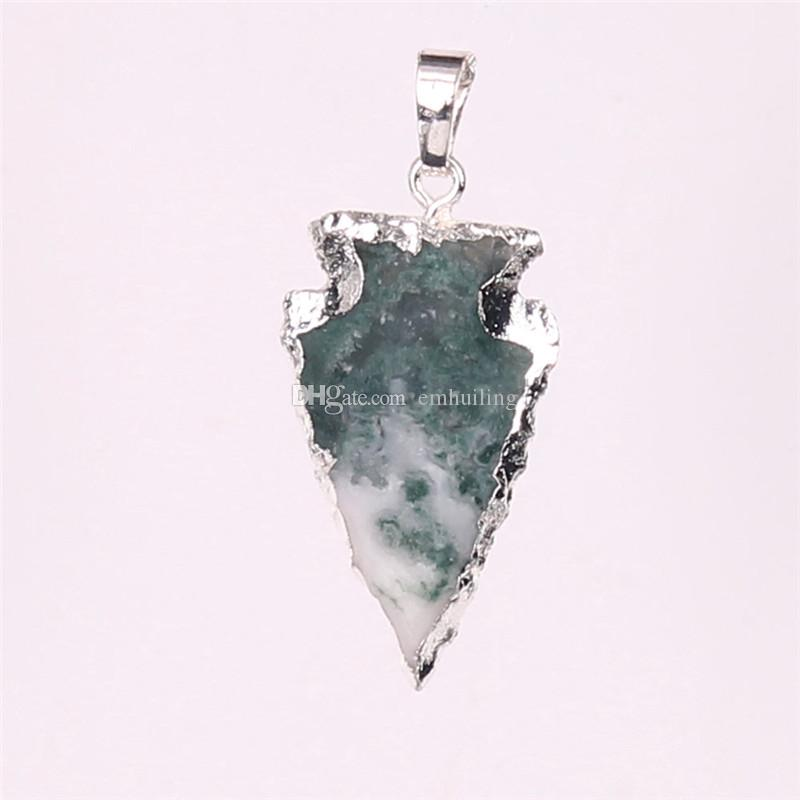 Hot Fashion Arrowhead Point Natural Jasper Druzy Pendent New Silver Plated Exclusive Crystal Quartz Necklace Pendant Charms Jewelry Findings