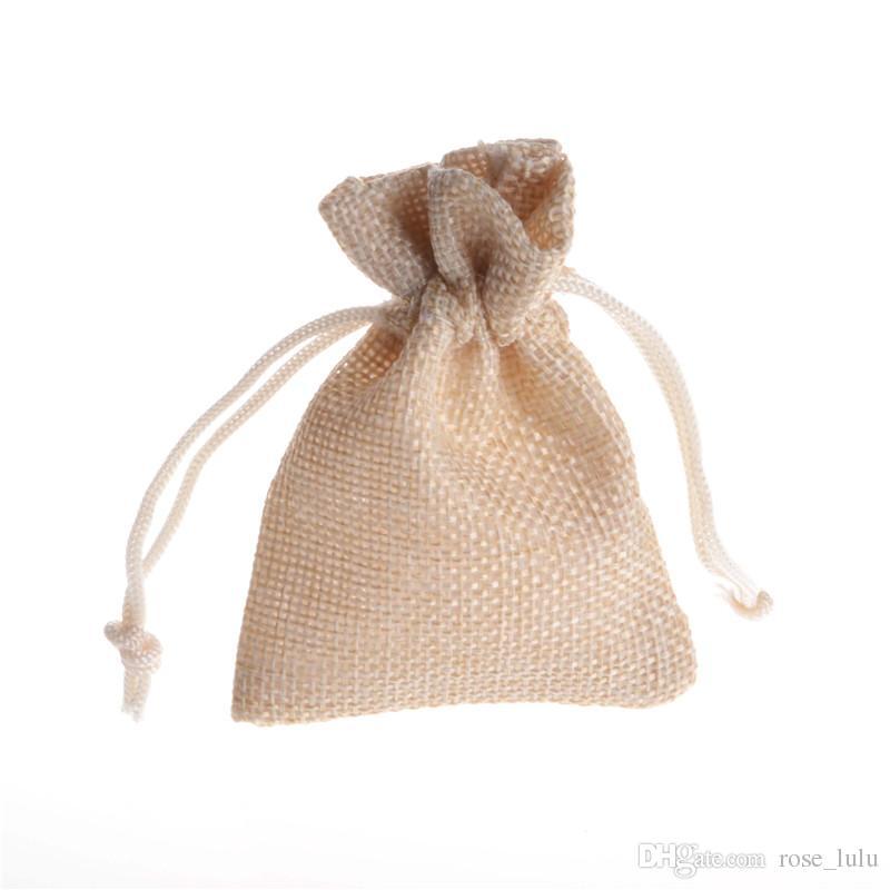 متعدد الألوان 7x9 سنتيمتر مصغرة الحقيبة الجوت حقيبة الكتان القنب الرباط أكياس حلقة قلادة مجوهرات الحقائب الصغيرة عرس الحسنات هدية التغليف