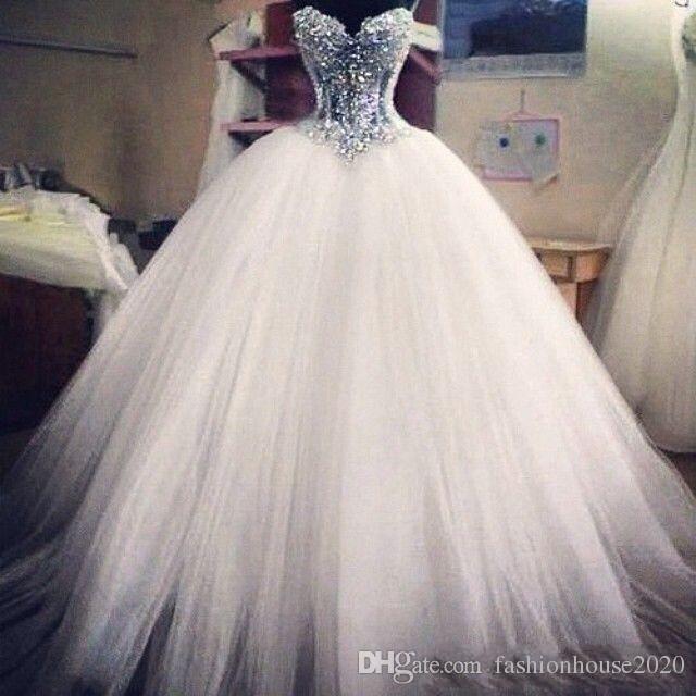 2020 бальное платье Bling Свадебные платья Милая Иллюзия принцессы из бисера Кристалл Pearls Тюль корсет Назад стреловидности Gowns Поезд Puffy Bridal