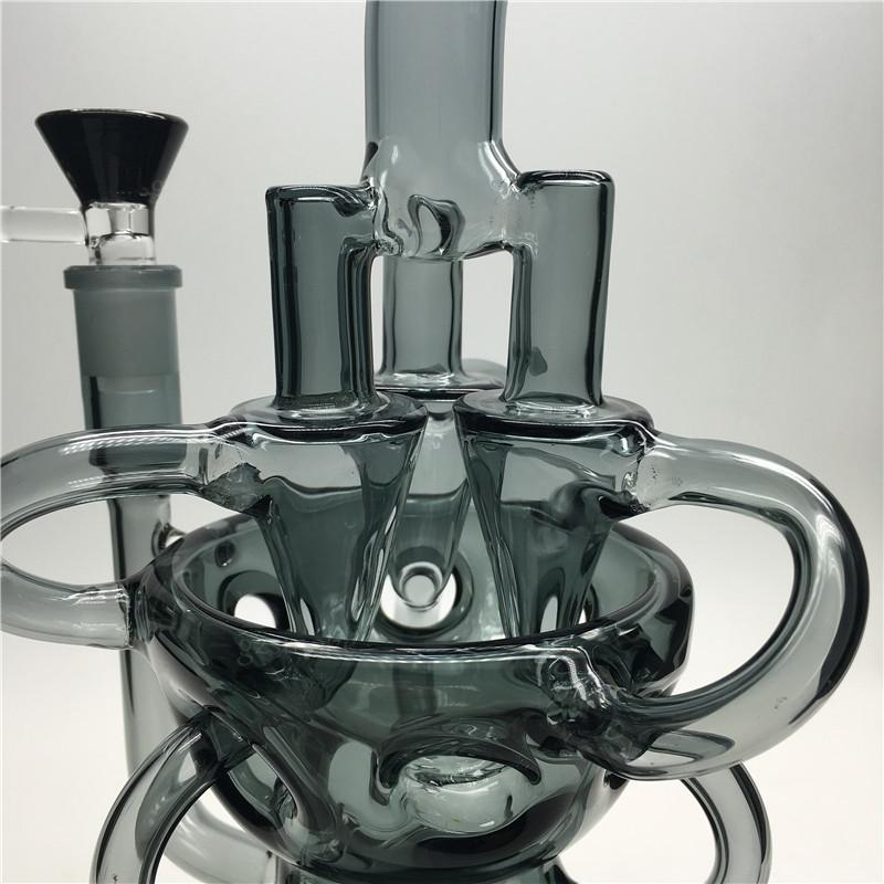 Cyclone Glass Bongs Recycler Water Pipes Triple Vortex Percolator Dab Rigs 3 Swirls Arm Heady Oil Rig Heavy Bong Pipe With Bowl