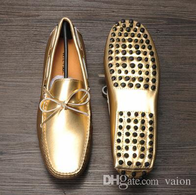 2ba83cb8231d 2017 Summer New Men Shoes Patent Leather Men Casual Shoes Fashion Mens  Flats White Gold Sliver Men Loafers Soft Driving Dress Shoes Leopard Print  Shoes ...