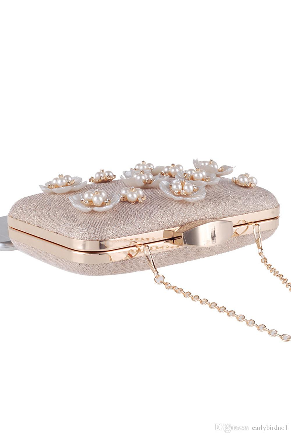 Hand Made Flowers Pearls Bridal Hand Bags Women Clutch Bags For Evening Celebrities Ladies Minaudiere Bags with Chain CPA955