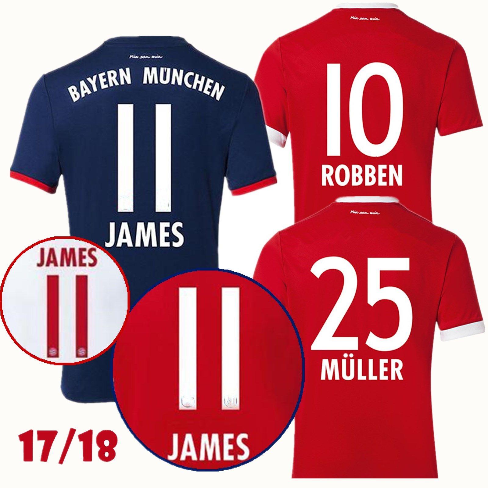 821fb5137 ... 2017 2018 Rodriguez 11 James Soccer Jerseys Home Away Third Kit Jersey  Ribery Robben VIDAL LEWANDOWSKI .