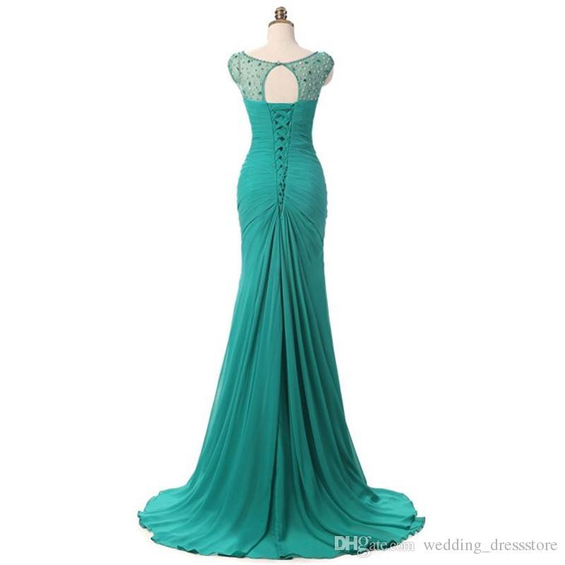 Emerald Green Prom Dress 2019 Robe De Soiree Courte Elegant Mermaid Evening Dresses with Cap Sleeves
