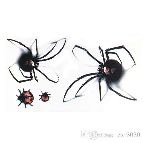 3D wasserdicht temporäre Tätowierung Aufkleber Black Spider Designs Flash temporäre Tatoo gefälschte 1sheet kleine Hals Tattoos Body Art