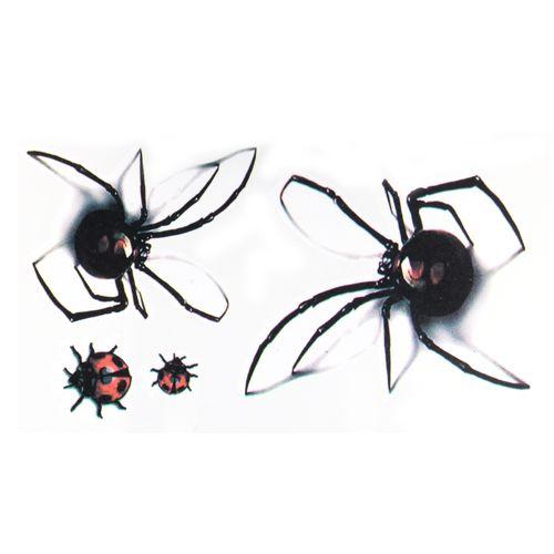 Adesivi tatuaggio temporaneo impermeabile 3D Black Spider disegna Tatuaggi Temporanei Tatoo falso 1 foglio piccolo collo tatuaggi Body Art