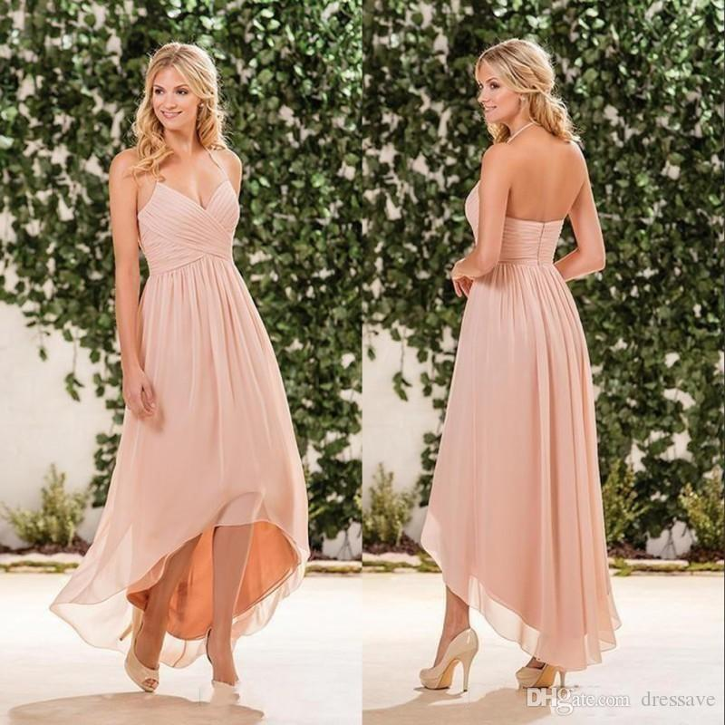 Cheap Simple Beach Peach Pink Bridesmaid Dresses 2017 Halter Chiffon