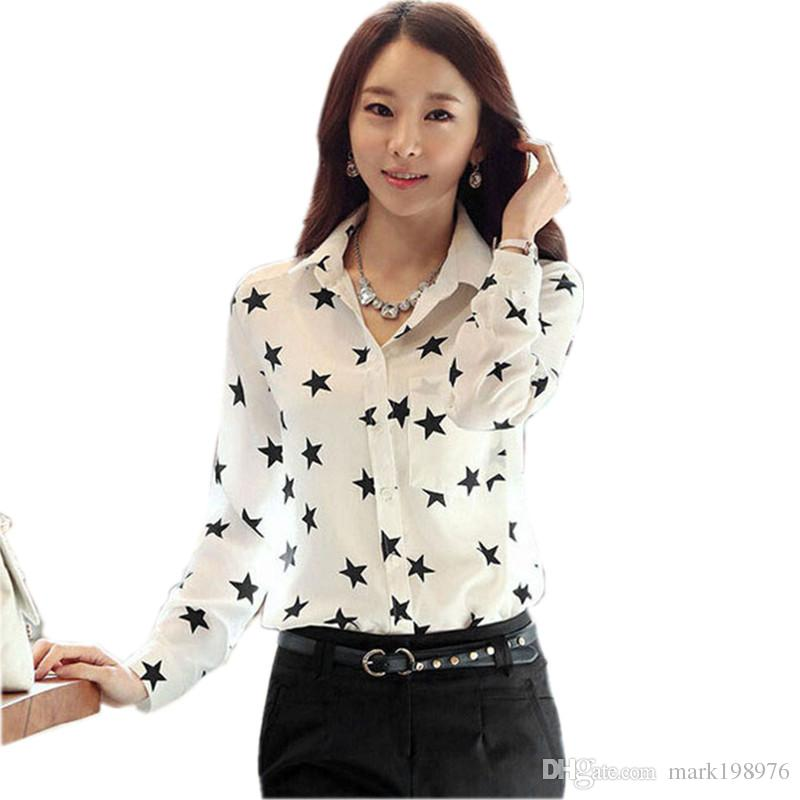 9e14d82ded0 2019 Summer Womens Shirt Retro Polyester Five Pointed Stars Printed Chiffon Shirt  Women Vintage Long Sleeve Pentagram Blouse ST006 From Mark198976, ...