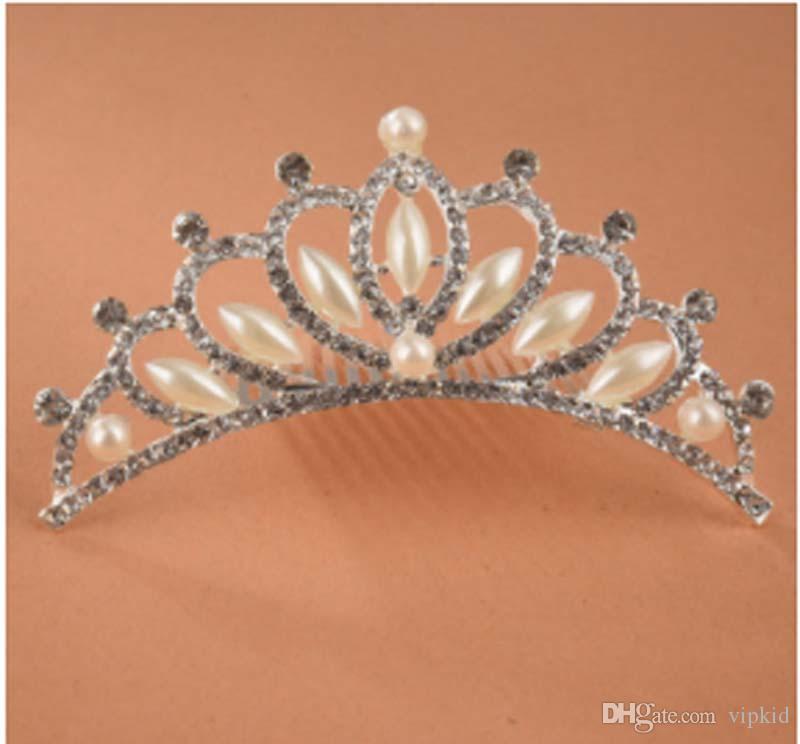 Mostra principessa pettini Crown Princess Mini scintillio strass Diamante nuziale principessa corona capelli pettine fermacapelli Tuck Tiara Wedding Party