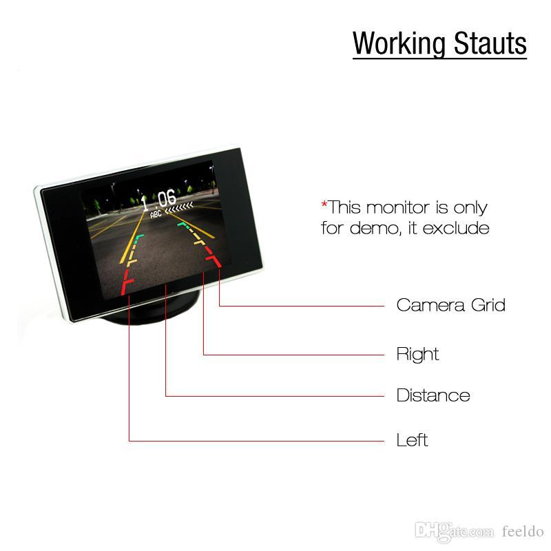 FEELDO 자동차 4 센서 Rearview 주차 센서 + 라이센스 플레이트 카메라 비디오 Parking Sensor System # 1550