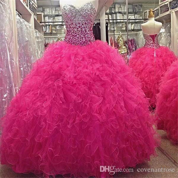 Bling Hot Pink Quinceanera Dresses Crystal Backless Fuchsia Sweet 16 Dresses Masquerade Ball Gowns Vestidos de 15 Anos Cheap Prom Dress