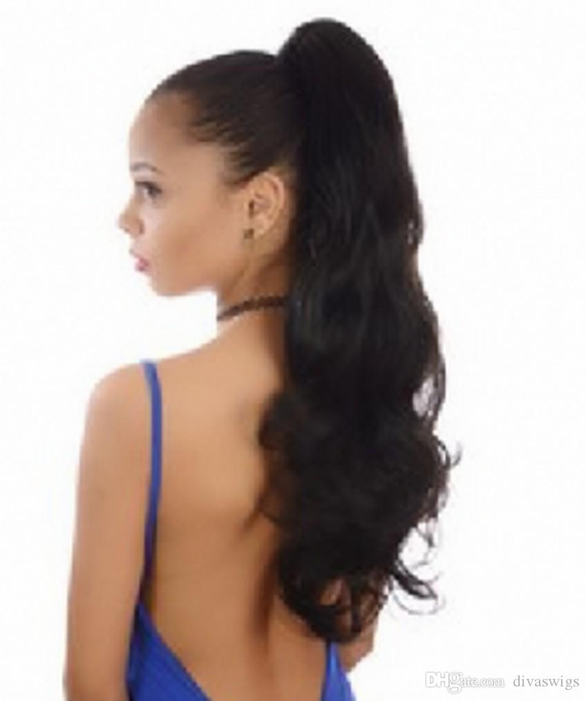 Loose Wavy Clip In Ponytails Brazilian Human Real Hair 140g Wavy