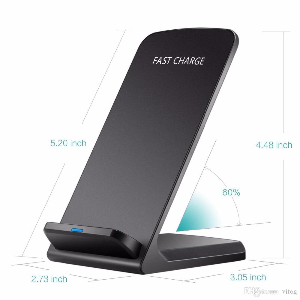 Para Iphone X 2 Bobinas Qi Cargador inalámbrico Cargador inalámbrico rápido Soporte de soporte para iPhone X 8 8 Plus Samsung Note 8 S8 Plus S7 edge